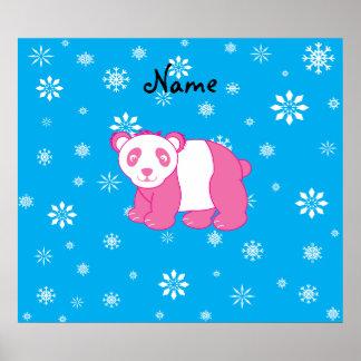 Copos de nieve rosados conocidos personalizados de póster