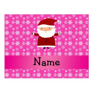 Copos de nieve rosados conocidos personalizados de tarjetas postales