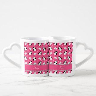 Copos de nieve rosados conocidos personalizados de tazas para enamorados