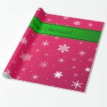 Copos de nieve rosados de las Felices Navidad