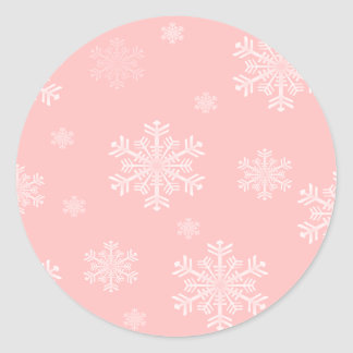 Copos de nieve rosados de w/White - pegatinas del Pegatina Redonda