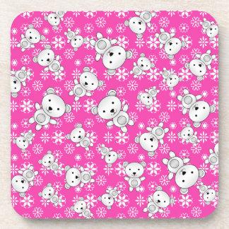 Copos de nieve rosados del navidad lindo de los posavaso