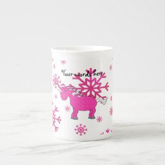 Copos de nieve rosados del rosa del unicornio taza de porcelana