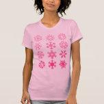 Copos de nieve rosados - la camiseta de manga