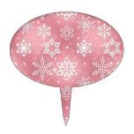 Copos de nieve rosados lindos decoraciones de tartas