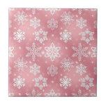 Copos de nieve rosados lindos azulejo cerámica