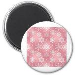 Copos de nieve rosados lindos imán de nevera
