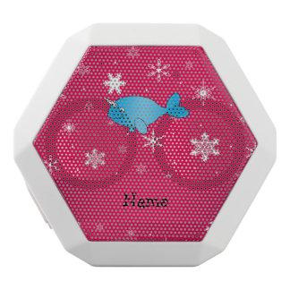 Copos de nieve rosados narwhal conocidos altavoces bluetooth blancos boombot REX