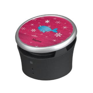 Copos de nieve rosados narwhal conocidos altavoz bluetooth