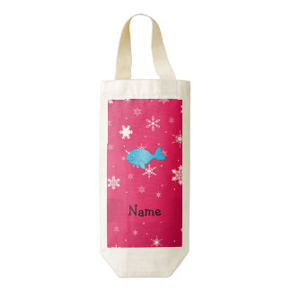 Copos de nieve rosados narwhal conocidos bolsa para botella de vino zazzle HEART