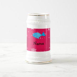 Copos de nieve rosados narwhal conocidos jarra de cerveza