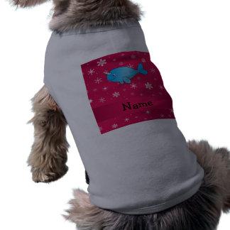 Copos de nieve rosados narwhal conocidos playera sin mangas para perro