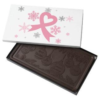 Copos de nieve rosados (navidad del cáncer de chocolate negro personalizado