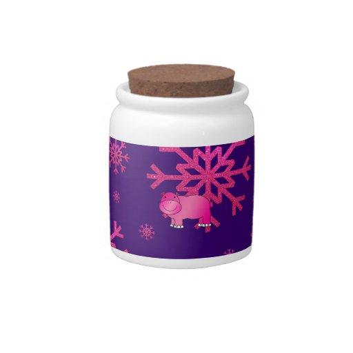 Copos de nieve rosados púrpuras del hipopótamo ros jarra para caramelo
