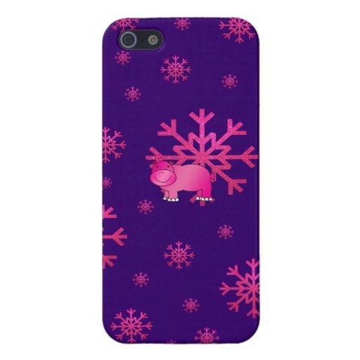 Copos de nieve rosados púrpuras del hipopótamo ros iPhone 5 fundas