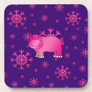 Copos de nieve rosados púrpuras del hipopótamo ros posavaso