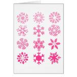 Copos de nieve rosados - tarjeta de felicitación