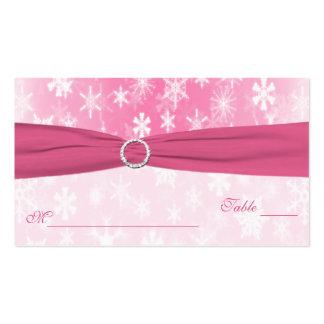 Copos de nieve rosados y blancos Placecards Plantillas De Tarjetas Personales