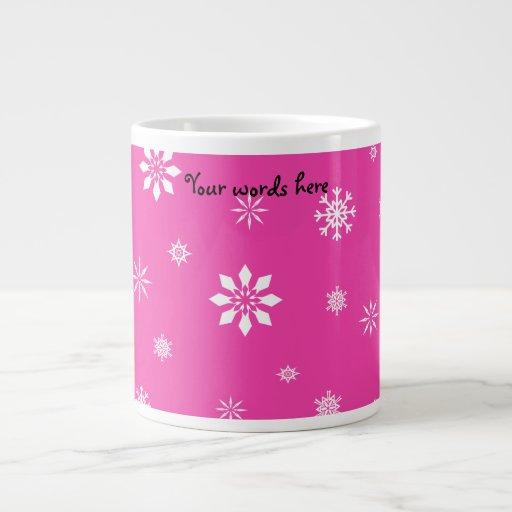 Copos de nieve rosados y blancos taza grande