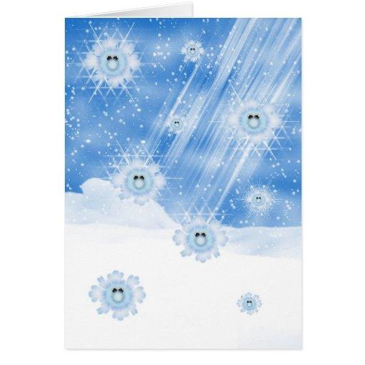 Copos de nieve, tarjeta de Navidad borrosa de la n
