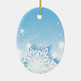 copos de nieve tridimensionales adorno navideño ovalado de cerámica