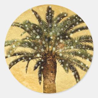 Copos de nieve tropicales de la palmera w del pegatina redonda
