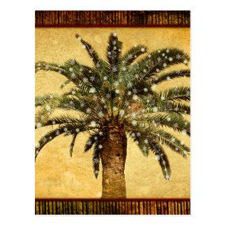 Copos de nieve tropicales de la palmera w del postal