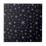 Copos de nieve - Ube en negro Azulejo