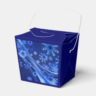 Copos de nieve ventosos de Christmastime en azul Cajas Para Detalles De Boda