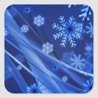 Copos de nieve ventosos de Christmastime en azul Pegatina Cuadrada