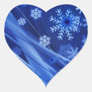 Copos de nieve ventosos de Christmastime en azul Pegatina En Forma De Corazón
