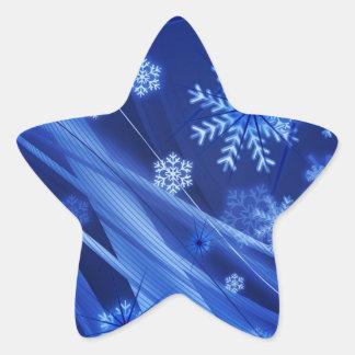 Copos de nieve ventosos de Christmastime en azul Pegatina En Forma De Estrella
