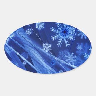 Copos de nieve ventosos de Christmastime en azul Pegatina Ovalada