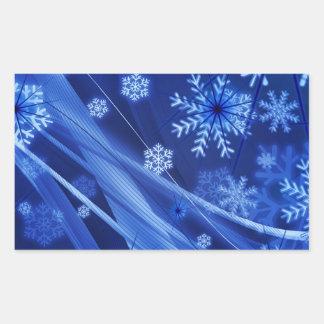 Copos de nieve ventosos de Christmastime en azul Pegatina Rectangular