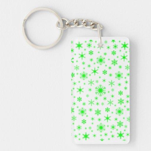 Copos de nieve - verde eléctrico en blanco llaveros