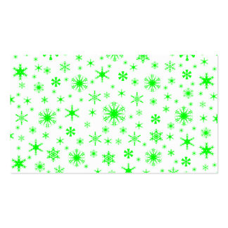 Copos de nieve - verde eléctrico en blanco plantilla de tarjeta de visita
