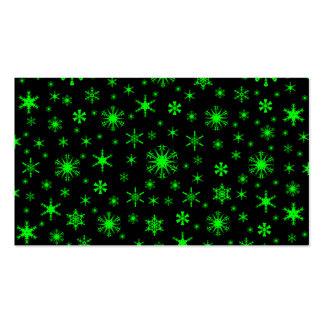 Copos de nieve - verde eléctrico en negro tarjetas de visita