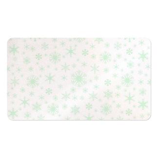 Copos de nieve - verde en colores pastel en blanco tarjetas de visita