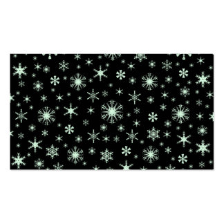 Copos de nieve - verde en colores pastel en negro tarjetas personales