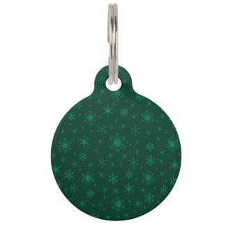 Copos de nieve - verde en verde oscuro identificador para mascotas