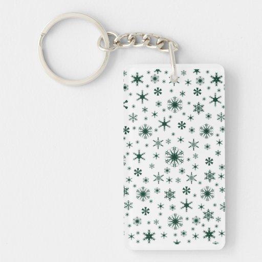 Copos de nieve - verde oscuro en blanco llavero