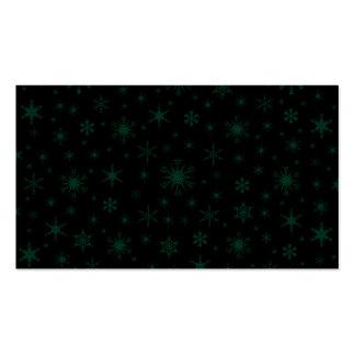 Copos de nieve - verde oscuro en negro tarjeta de visita