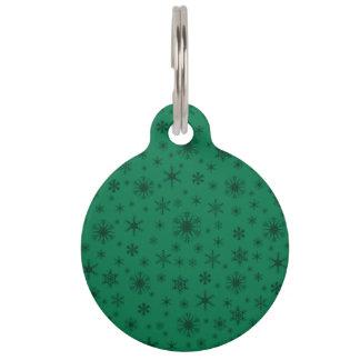 Copos de nieve - verde oscuro en verde placas para mascotas