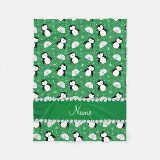 Copos de nieve verdes conocidos de encargo de los manta de forro polar