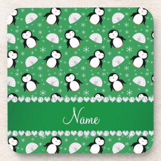 Copos de nieve verdes conocidos de encargo de los posavasos de bebida