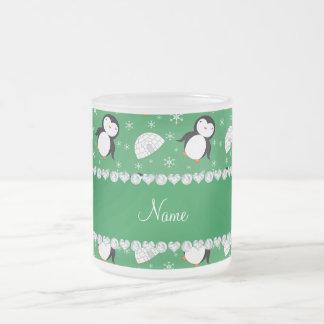 Copos de nieve verdes conocidos de encargo de los taza cristal mate