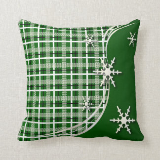 Copos de nieve verdes de la tela escocesa del almohada