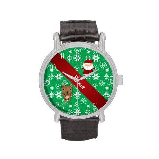 Copos de nieve verdes personalizados de santa del relojes