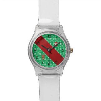 Copos de nieve verdes personalizados de santa del reloj de mano