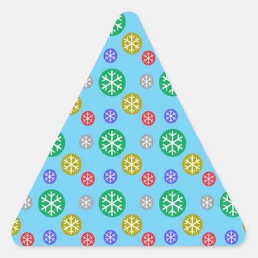 Copos de nieve verdes rojos de plata del oro en az pegatinas trianguladas